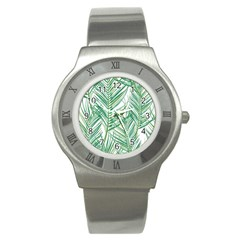 Jungle Fever Green Leaves Stainless Steel Watch by Mariart