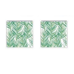 Jungle Fever Green Leaves Cufflinks (square) by Mariart