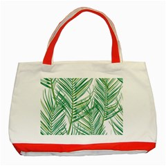 Jungle Fever Green Leaves Classic Tote Bag (red)