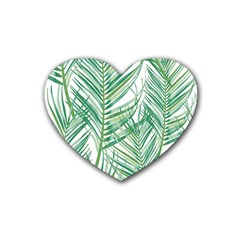 Jungle Fever Green Leaves Heart Coaster (4 Pack)  by Mariart