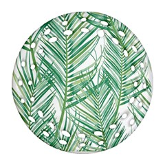 Jungle Fever Green Leaves Round Filigree Ornament (two Sides)