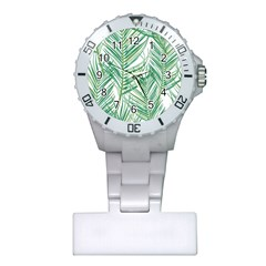 Jungle Fever Green Leaves Plastic Nurses Watch