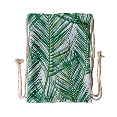 Jungle Fever Green Leaves Drawstring Bag (small)