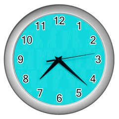 Line Blue Wall Clocks (silver)  by Mariart