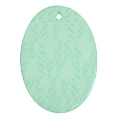 Line Blue Chevron Oval Ornament (two Sides) by Mariart