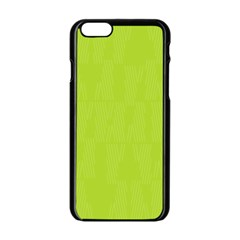 Line Green Apple Iphone 6/6s Black Enamel Case by Mariart