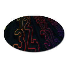 Neon Number Oval Magnet by Mariart