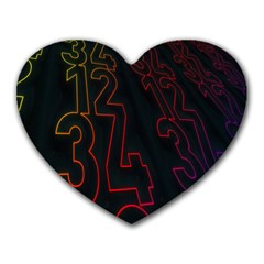 Neon Number Heart Mousepads by Mariart