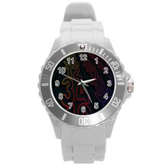 Neon Number Round Plastic Sport Watch (l) by Mariart