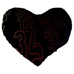 Neon Number Large 19  Premium Heart Shape Cushions by Mariart