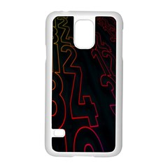 Neon Number Samsung Galaxy S5 Case (white) by Mariart