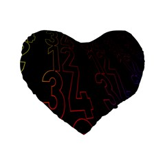 Neon Number Standard 16  Premium Flano Heart Shape Cushions by Mariart