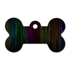 Line Rain Rainbow Light Stripes Lines Flow Dog Tag Bone (one Side) by Mariart
