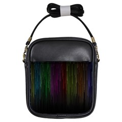 Line Rain Rainbow Light Stripes Lines Flow Girls Sling Bags by Mariart