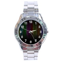 Line Rain Rainbow Light Stripes Lines Flow Stainless Steel Analogue Watch by Mariart
