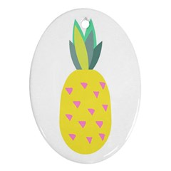 Pineapple Fruite Yellow Triangle Pink Oval Ornament (two Sides) by Mariart