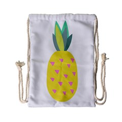 Pineapple Fruite Yellow Triangle Pink Drawstring Bag (small) by Mariart