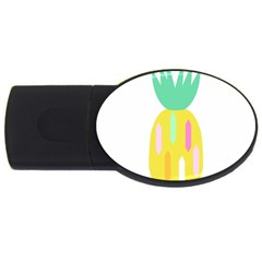 Pineapple Fruite Yellow Triangle Pink White Usb Flash Drive Oval (2 Gb)