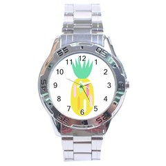 Pineapple Fruite Yellow Triangle Pink White Stainless Steel Analogue Watch by Mariart