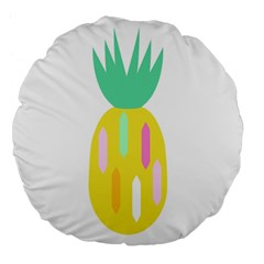 Pineapple Fruite Yellow Triangle Pink White Large 18  Premium Flano Round Cushions by Mariart