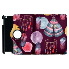 Boho Tribal Watercolor Pattern  Apple Ipad 3/4 Flip 360 Case by paulaoliveiradesign