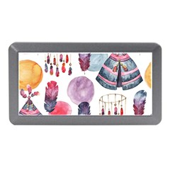 Boho Tribal Watercolor White Pattern Memory Card Reader (mini) by paulaoliveiradesign