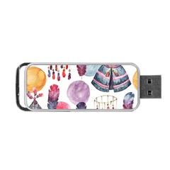Boho Tribal Watercolor White Pattern Portable Usb Flash (two Sides)