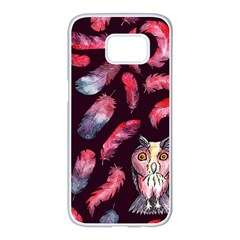 Boho Owl And Feather Pattern Samsung Galaxy S7 Edge White Seamless Case by paulaoliveiradesign