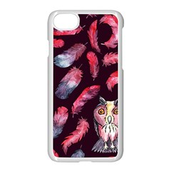 Boho Owl And Feather Pattern Apple Iphone 7 Seamless Case (white) by paulaoliveiradesign