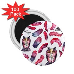 Boho Owl And Feather White Pattern 2 25  Magnets (100 Pack)  by paulaoliveiradesign