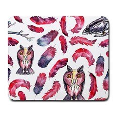 Boho Owl And Feather White Pattern Large Mousepads by paulaoliveiradesign