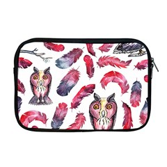 Boho Owl And Feather White Pattern Apple Macbook Pro 17  Zipper Case