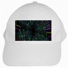 Colorful Geometric Electrical Line Block Grid Zooming Movement White Cap by Mariart