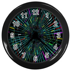 Colorful Geometric Electrical Line Block Grid Zooming Movement Wall Clocks (black) by Mariart