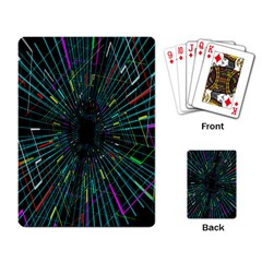 Colorful Geometric Electrical Line Block Grid Zooming Movement Playing Card by Mariart