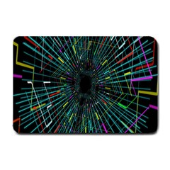Colorful Geometric Electrical Line Block Grid Zooming Movement Small Doormat  by Mariart
