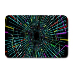 Colorful Geometric Electrical Line Block Grid Zooming Movement Plate Mats by Mariart