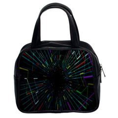 Colorful Geometric Electrical Line Block Grid Zooming Movement Classic Handbags (2 Sides)