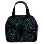 Colorful Geometric Electrical Line Block Grid Zooming Movement Classic Handbags (2 Sides) Front