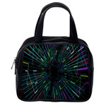 Colorful Geometric Electrical Line Block Grid Zooming Movement Classic Handbags (2 Sides) Back