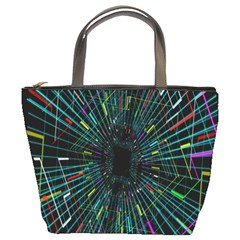 Colorful Geometric Electrical Line Block Grid Zooming Movement Bucket Bags by Mariart