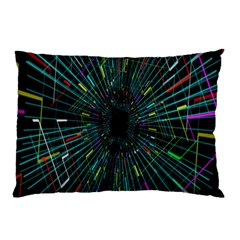 Colorful Geometric Electrical Line Block Grid Zooming Movement Pillow Case by Mariart