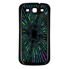 Colorful Geometric Electrical Line Block Grid Zooming Movement Samsung Galaxy S3 Back Case (black) by Mariart