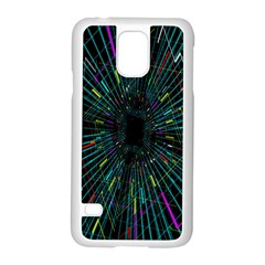 Colorful Geometric Electrical Line Block Grid Zooming Movement Samsung Galaxy S5 Case (white) by Mariart