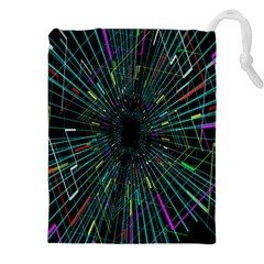 Colorful Geometric Electrical Line Block Grid Zooming Movement Drawstring Pouches (xxl) by Mariart