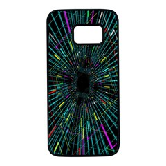 Colorful Geometric Electrical Line Block Grid Zooming Movement Samsung Galaxy S7 Black Seamless Case by Mariart