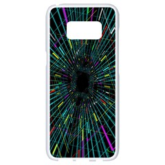 Colorful Geometric Electrical Line Block Grid Zooming Movement Samsung Galaxy S8 White Seamless Case
