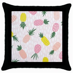 Pineapple Rainbow Fruite Pink Yellow Green Polka Dots Throw Pillow Case (black) by Mariart