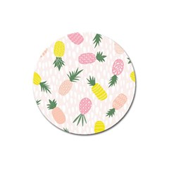 Pineapple Rainbow Fruite Pink Yellow Green Polka Dots Magnet 3  (round) by Mariart