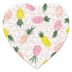 Pineapple Rainbow Fruite Pink Yellow Green Polka Dots Jigsaw Puzzle (heart) by Mariart